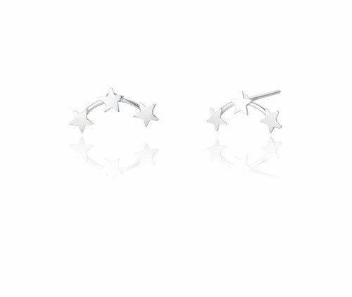 Ladies Sterling Silver Three Star Stud Earrings
