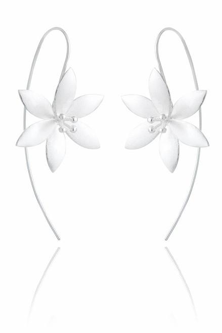 Ladies Sterling Silver Large Flower Earrings