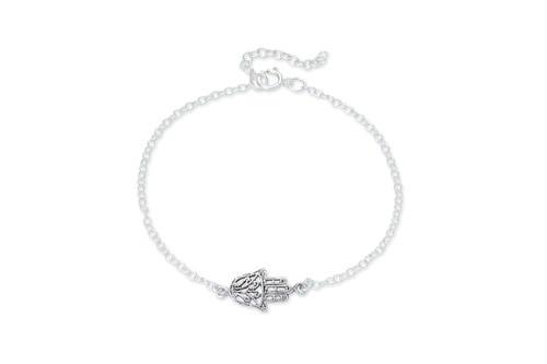 Ladies Sterling Silver Hamsa Hand Bracelet