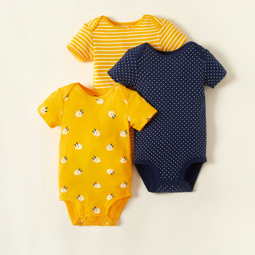 PatPat Baby Bodysuits Bright Daisy 3-pack