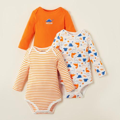 PatPat Baby Bodysuits Hello Dinosaur 3-pack
