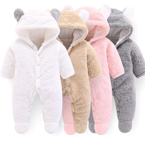 PatPat Baby Winter Hooded Jumpsuit 3D Bear Design