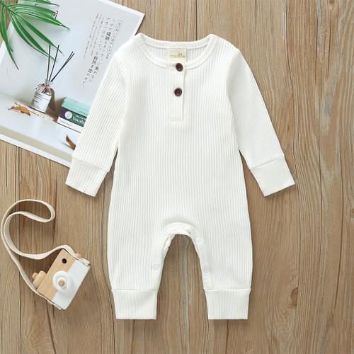 White Cardigan Long-sleeve Jumpsuit