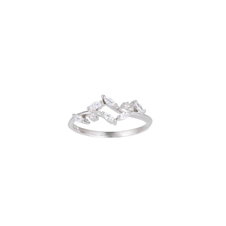 Ladies Zirconia Leaves Sterling Silver Ring