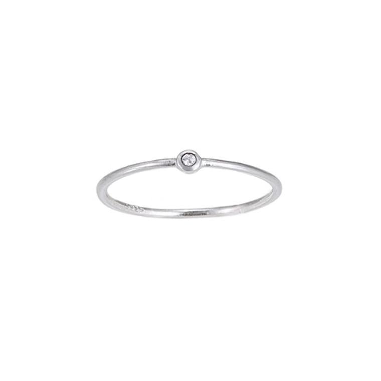 Ladies Single Zirconia Plain Sterling Silver Ring