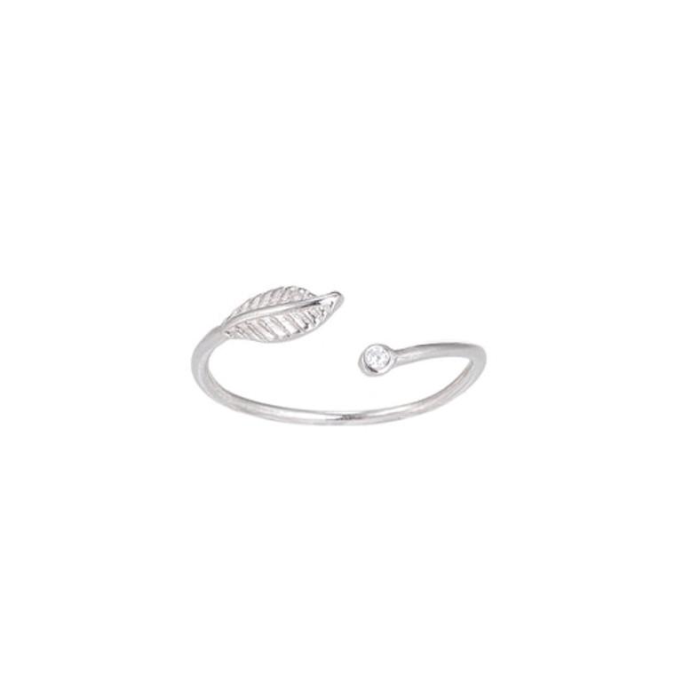 Ladies Adjustable Zirconia Flower Sterling Silver Ring