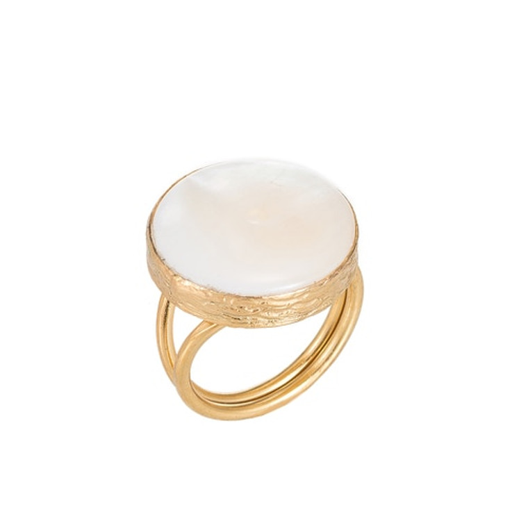 Ladies Mother of Pearl Stone Gold Plated Ring