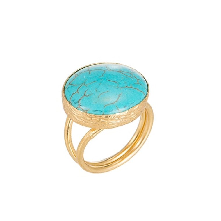 Ladies Tibetan Turquoise Stone Gold Plated Ring