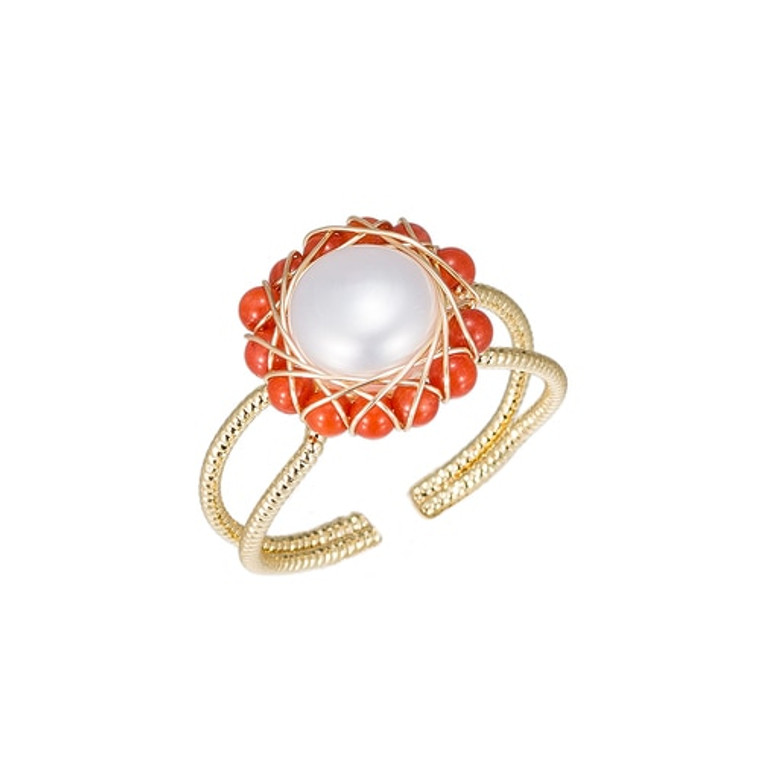 Ladies Pearl with Red Stone Gold Plated Ring