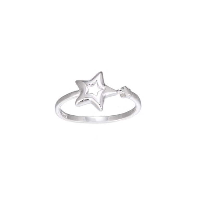 Ladies Adjustable Filled Star Sterling Silver Ring