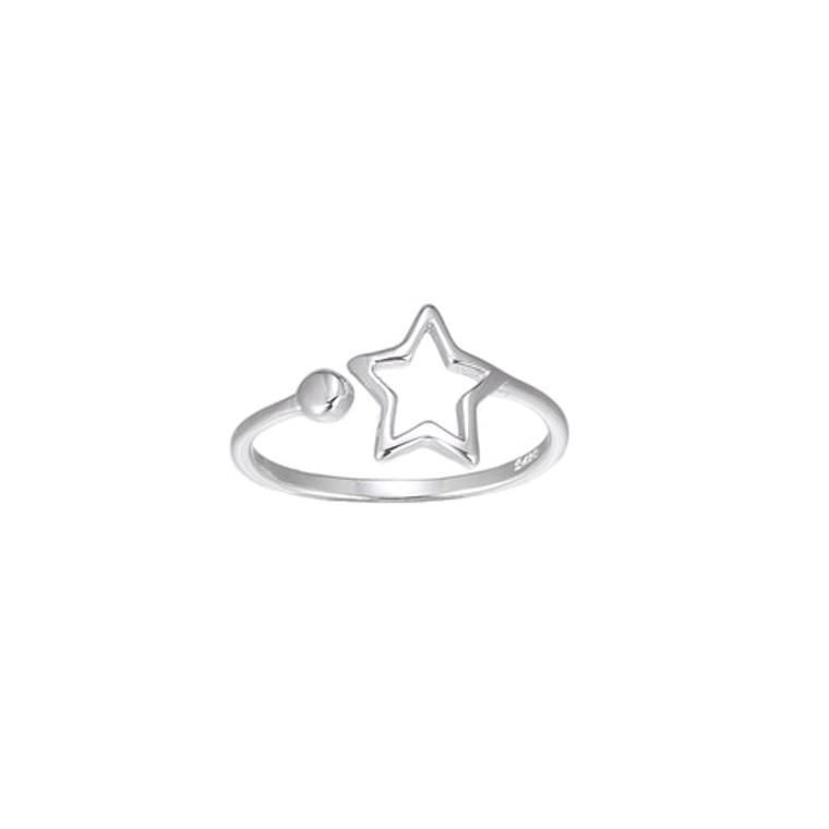 Ladies Adjustable Star Sterling Silver Ring
