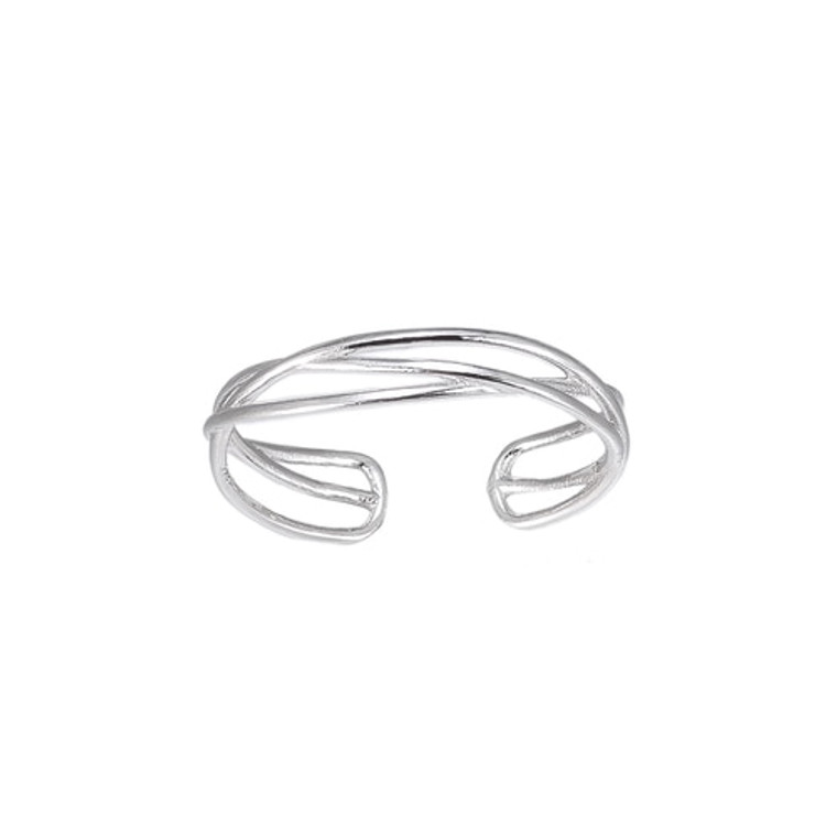 Ladies Adjustable Curly Band Sterling Silver