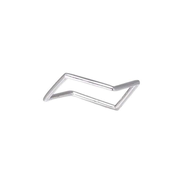 Ladies Asymmetric Cut Silver Ring