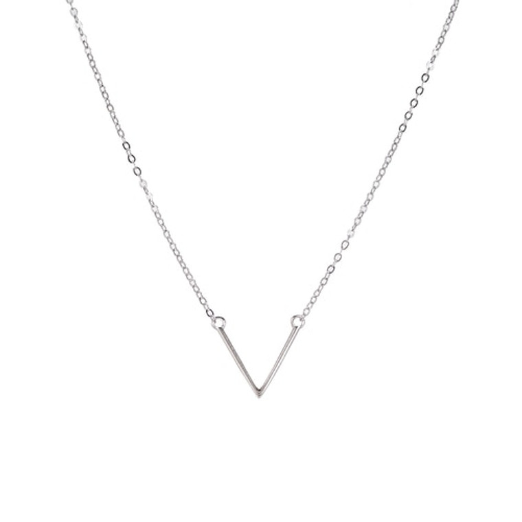Ladies V Shaped Sterling Silver Necklace