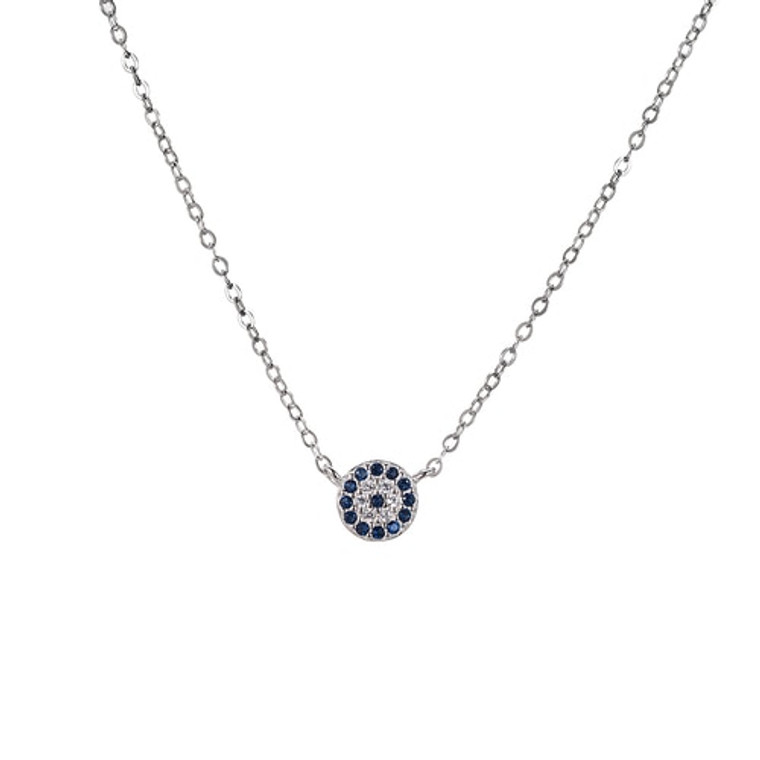 Ladies Sterling Silver Evil Eye Necklace
