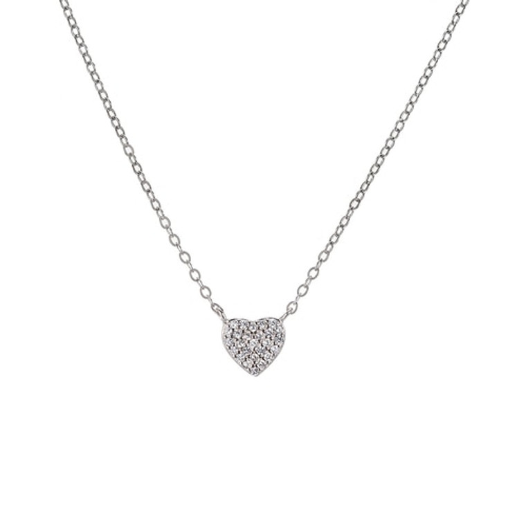 Ladies Heart Sterling Silver Necklace