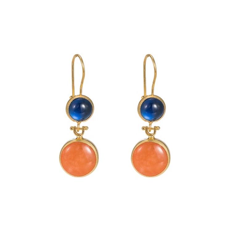Ladies Lapis Lazuli and Orange Calcite Double Stone Earrings