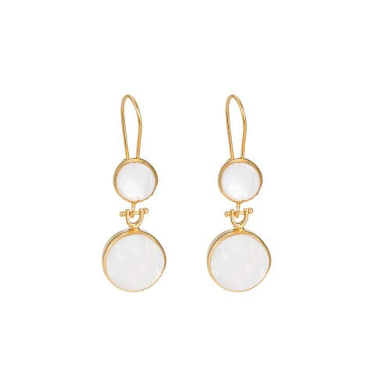 Ladies Mother of Pearl Double Stone Earrings