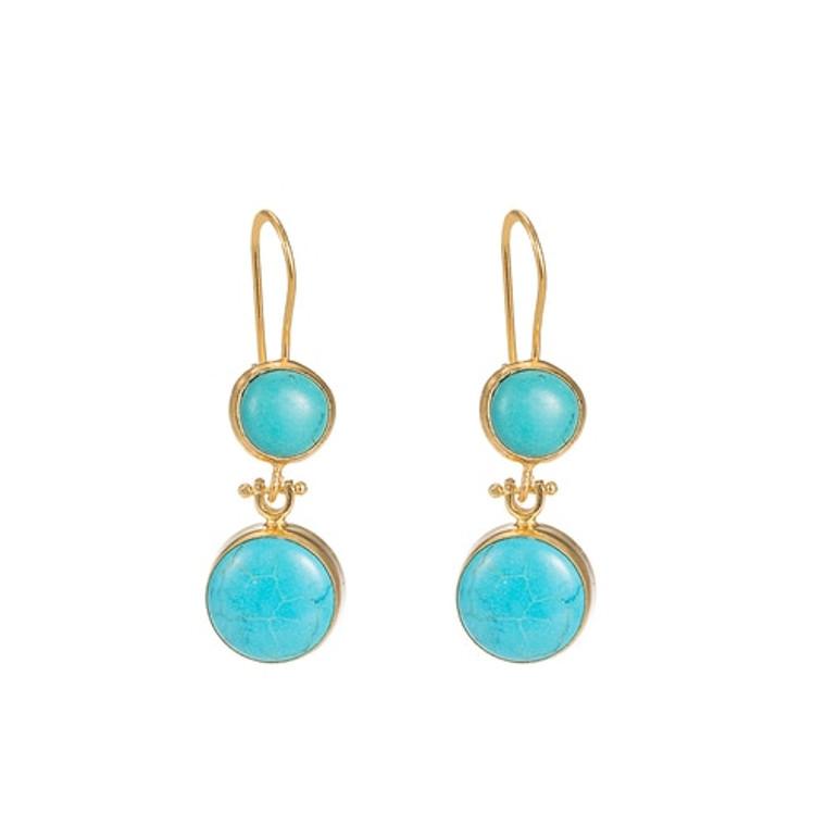 Ladies Tibetian Turquoise Double Stone Earrings