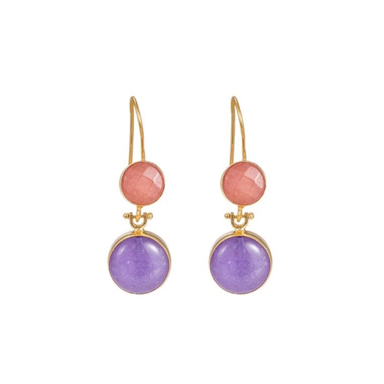 Ladies Orange Calcite and Light Amethyst  Double Stone Earrings