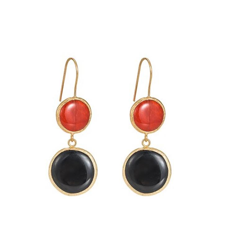 Ladies Red Jasper and Black Onyx Stone Earrings