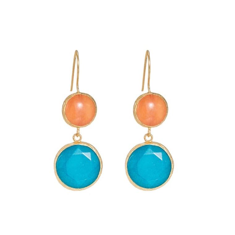 Ladies Orange Calcite and Aqua Agate Earrings