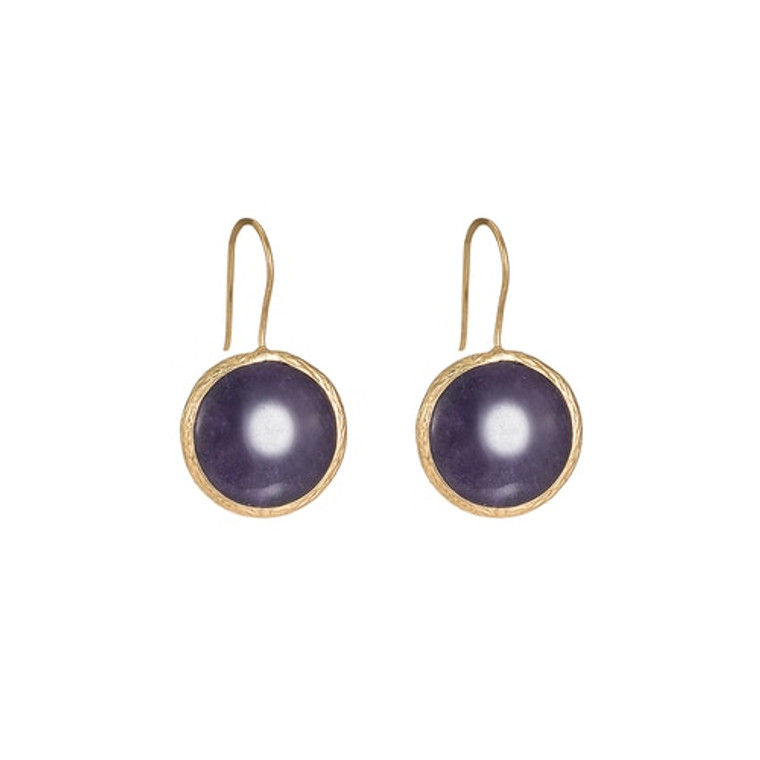 Ladies Gold Plated Purple Single Stone Earrings