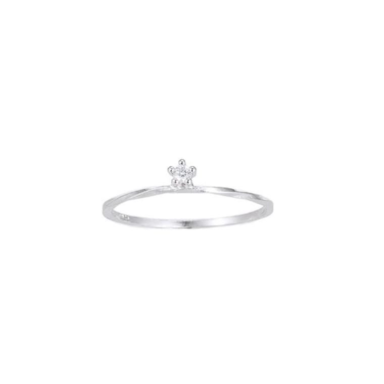 Ladies Single Zirconia Stone Sterling Silver Ring