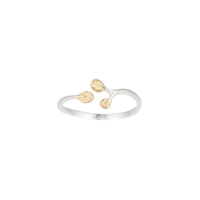 Ladies Adjustable Leaf Sterling Silver Ring