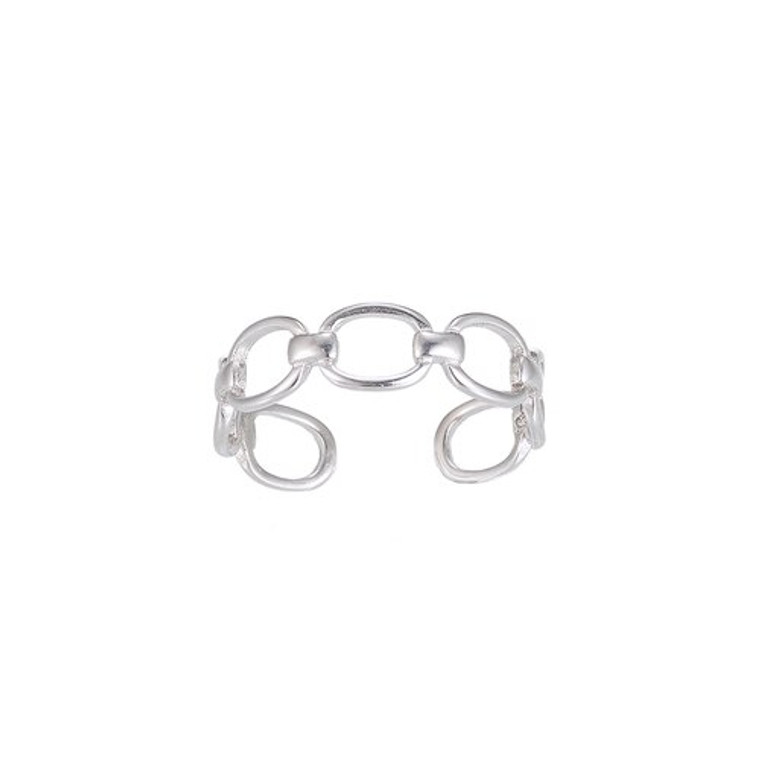 Ladies Adjustable Chain Sterling Silver Ring