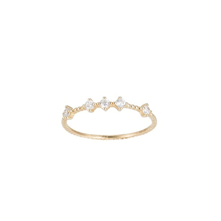 Ladies Five Point Zirconia Sterling Silver Ring