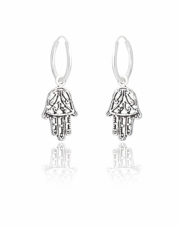 Ladies Sterling Silver Hamsa Hand Charm Earrings