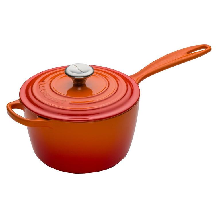 Volcanic Orange Le Creuset 18cm Cast Iron Saucepan