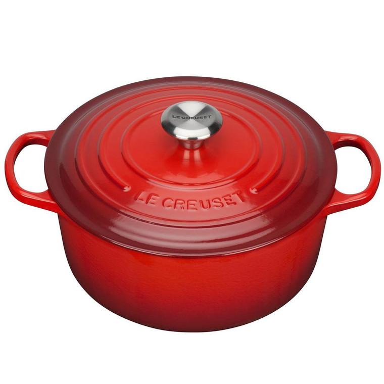 Cerise Le Creuset 26cm Cast Iron Casserole Dish