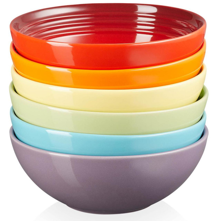 Le Creuset Stoneware Rainbow Set Of 6 Cereal Bowls