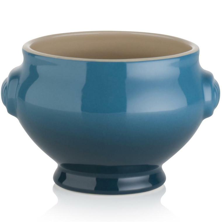 Deep Teal Le Creuset Stoneware Heritage Lionhead Soup Bowl