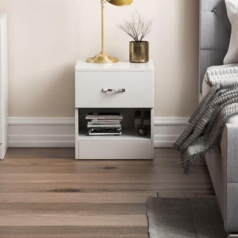 Viva Designs Bedroom Riano 1 Drawer Bedside Chest White