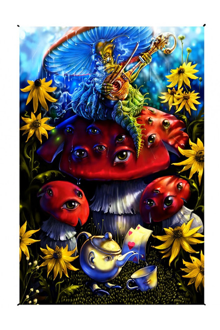 Richard Biffle Hookah Caterpillar Alice In Wonderland Heady Art Print Tapestry 30 X 45