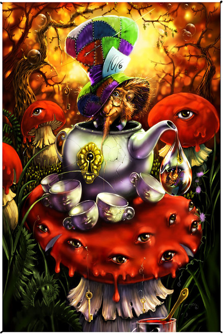 Richard Biffle Mad Hatter Alice In Wonderland Heady Art Print Tapestry 30 X 45