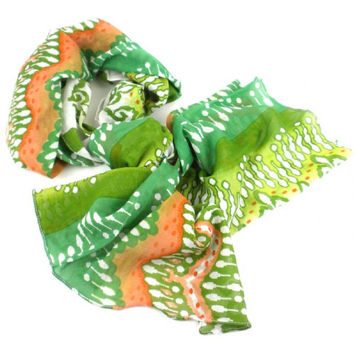White,Peach and Green Ikat Cotton Scarf