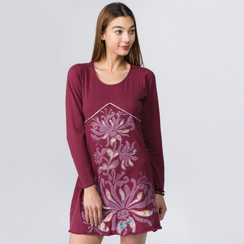 Long Sleeve Mini Dress with Floral Applique