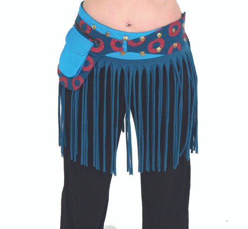 Phish Print Snap Wrap Belt w/ Attached Pouch and Tassels