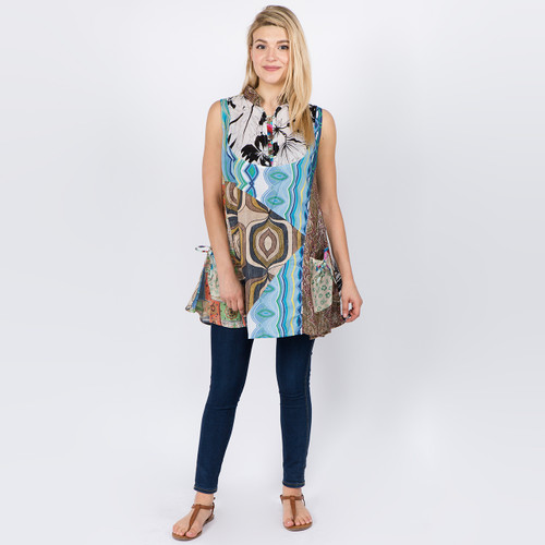 Patchwork Flowy Tank Style Top with Pockets