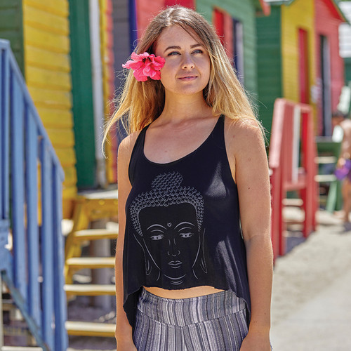 Racer Back Flowy Tank Top with Print