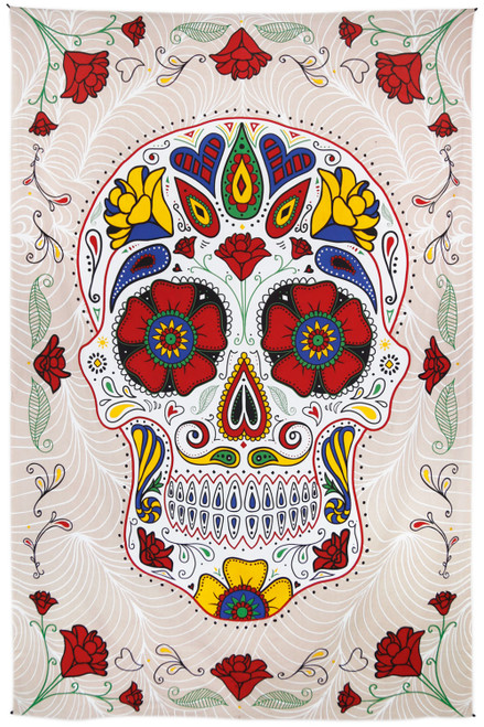3D Sugar Skull Tapestry 60x90 White