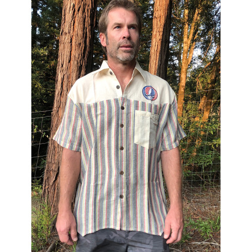 Striped Short Sleeve Button Up Shirt With SYF & Bolt