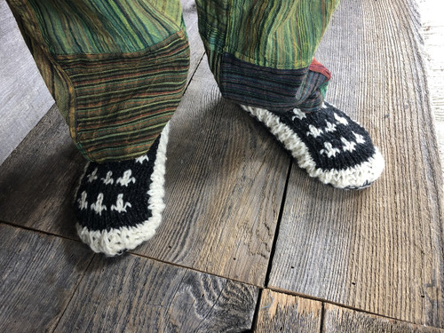 Wool Knit Slippers With Fleece Lining