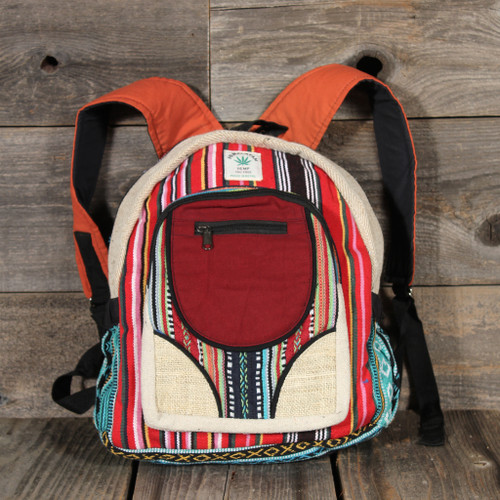 Striped Hemp Patchwork Small Backpack