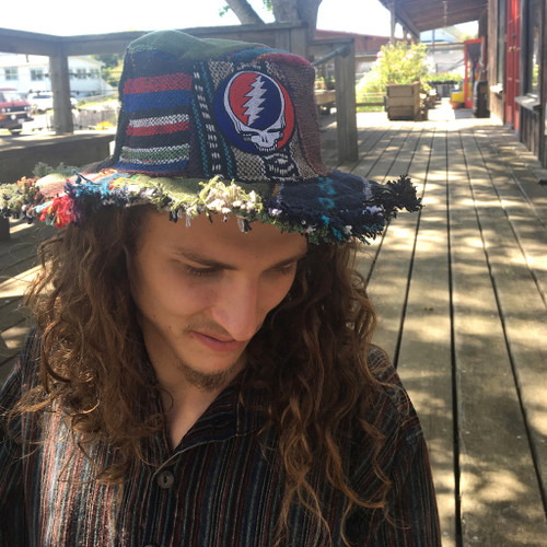 Upcycled Patchwork Hat w/ Steal Your Face Embroidery