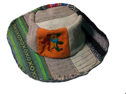 Upcycled Patchwork Hat w/ Frayed Edge Bear Embroidery